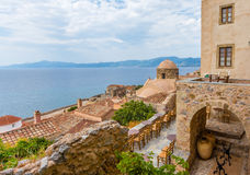 Traditional view of stone houses and sights. Greece monemvasia traditional view of stone houses and sights in main capitol in mani Peloponnese with sea stock image