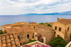 Traditional view of stone houses and sights. Greece monemvasia traditional view of stone houses and sights in main capitol in mani Peloponnese with sea stock photo