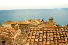 Traditional view of stone houses and sights. Greece monemvasia traditional view of stone houses and sights in main capitol in mani Peloponnese with sea royalty free stock photo