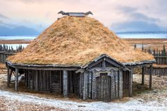 Traditional Viking turf roof house stock images
