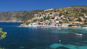 Traditional village of Assos at Kefalonia royalty free stock photo