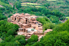 Traditional village in atlas mountains, morocco Royalty Free Stock Image