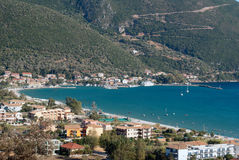 Traditional village Basiliki on Lefkas island Royalty Free Stock Photos
