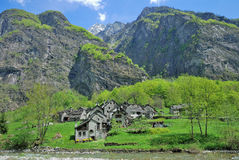 Traditional Village,Bavona Valley,Switzerland Royalty Free Stock Photography