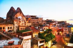 Traditional village in Capadocia Turkey at sunset royalty free stock images
