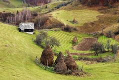 Traditional village in Carpathians in an autumn day. stock images