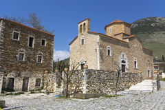 Traditional village and church at Mani Stock Images