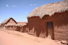 Traditional village with clay buildings in Bolivia Royalty Free Stock Image