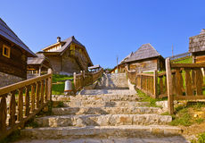 Traditional village Drvengrad Mecavnik - Serbia stock photography