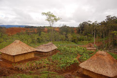 Traditional village in highlands rural area Stock Photos