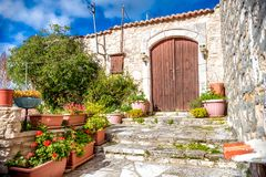 Traditional village house in the village of Lofou. Limassol Dist Royalty Free Stock Photography