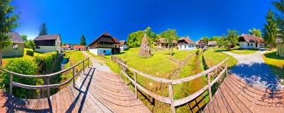Traditional village of Kumrovec in Zagorje region of Croatia pan Stock Image