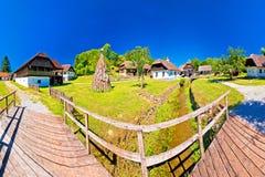 Traditional village of Kumrovec in Zagorje region of Croatia pan Royalty Free Stock Photo