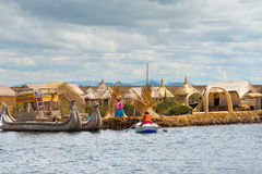 Traditional village on lake Titicaca in Peru Royalty Free Stock Images