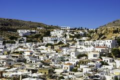 Traditional village of Lindos at Rhodes in Greece Royalty Free Stock Images