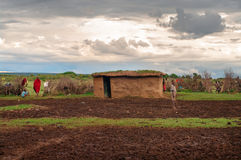 Traditional village of Maasai , Kenya. Royalty Free Stock Photo