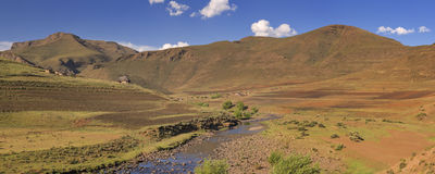 Traditional village in the mountains of Lesotho royalty free stock images