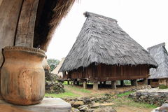 Traditional village in open-air museum in Wologai. Open-air museum with traditional wooden houses with tatch roof - ikatwaeving in village Wologai, Flores, Nusa Royalty Free Stock Photo