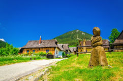 Traditional village in Slovakia, carved sculpture Royalty Free Stock Images