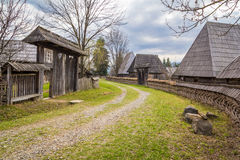 Traditional village street. Maramures is located in the geographical heartland of Europe. Maramures is a land of wooden churches, mythological richness Stock Photos