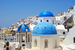 Traditional village of Thira at Santorini Stock Photo