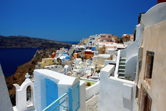 Traditional village of Thira at Santorini island Stock Photos
