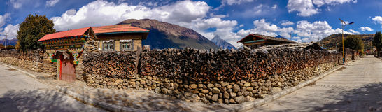 Traditional Village in Tibet Royalty Free Stock Photography