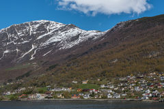 Traditional village view from cruise. Royalty Free Stock Photos