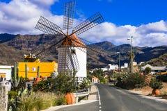 Traditional village and windmills of Canary island. Mogan, Gran Canaria royalty free stock photos