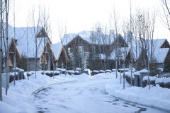 Traditional village in winter Royalty Free Stock Photos