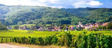 Traditional villages of Alsace and famous wine route in France Royalty Free Stock Photo