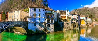 Traditional villages of Tuscany - Bagni di Lucca, famous for his Stock Photography