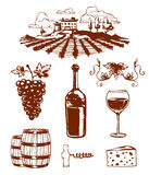 Traditional vinery farm production with grape press and red wine bottle line icons collection nature vector illustration Royalty Free Stock Images
