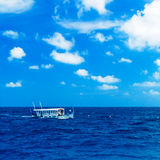 Traditional Vintage Boat in Ocean, Maldives. Traditional Vintage Boat Dhoni Sailing in Ocean, Maldives Royalty Free Stock Photo