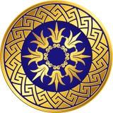 Vector Traditional vintage gold Greek ornament, Meander. Traditional vintage Golden round Greek ornament, Meander and floral pattern on blue background . Gold vector illustration