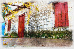 Traditional vintage house watercolor Stock Photo