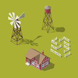 Traditional Vintage Red Farm. Vector isometric 3d Royalty Free Stock Images