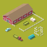 Traditional Vintage Red Farm. Vector isometric 3d Royalty Free Stock Photography