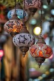 Traditional Vintage Turkish Lamp. Traditional bright decorative hanging Turkish lamps and colourful lights with vivid colours  in the Istanbul Bazaar, Turkey Stock Photos