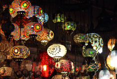 Traditional vintage Turkish lamps. Over light background in the night Royalty Free Stock Images