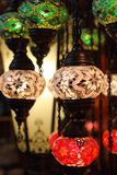 Traditional vintage Turkish lamps. Over light background in the night Stock Photography