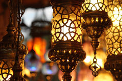 Traditional vintage Turkish lamps. Over light background in the night Stock Image