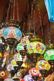 Traditional vintage Turkish lamps. In the Grand bazaar in Istanbul Royalty Free Stock Photography