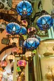 Traditional vintage Turkish lamps. In the Grand bazaar in Istanbul Royalty Free Stock Photos