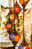 Traditional vintage Turkish lamps. In the Grand bazaar in Istanbul Stock Photography