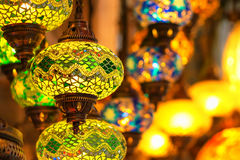 Traditional vintage Turkish lamps. And lanterns in the evening Royalty Free Stock Images