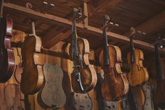 Traditional violin maker studio Royalty Free Stock Images