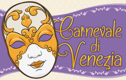 Traditional Volto Mask for Ladies to Celebrate Venice Carnival, Vector Illustration. Banner with beautiful volto female mask decorated with gilded golden details Royalty Free Stock Photos