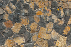 Traditional wall of volcanic stones at Jeju island. Korea Stock Image
