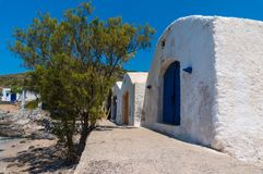 Traditional warehouses in Kythera island in Greece. Where fishermen stock their equipment Stock Photos